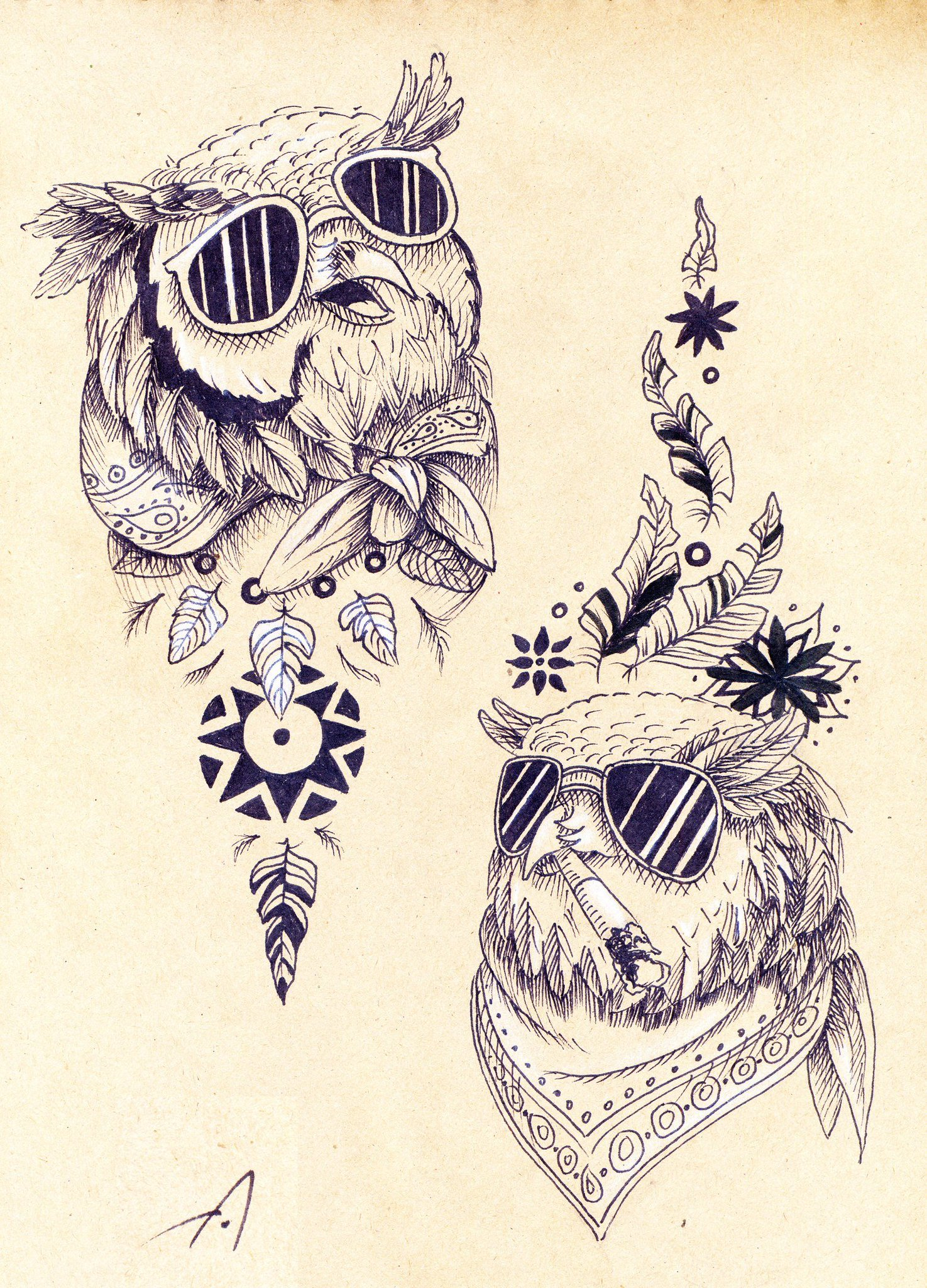 фото эскизов и тату совы с фонариком волна