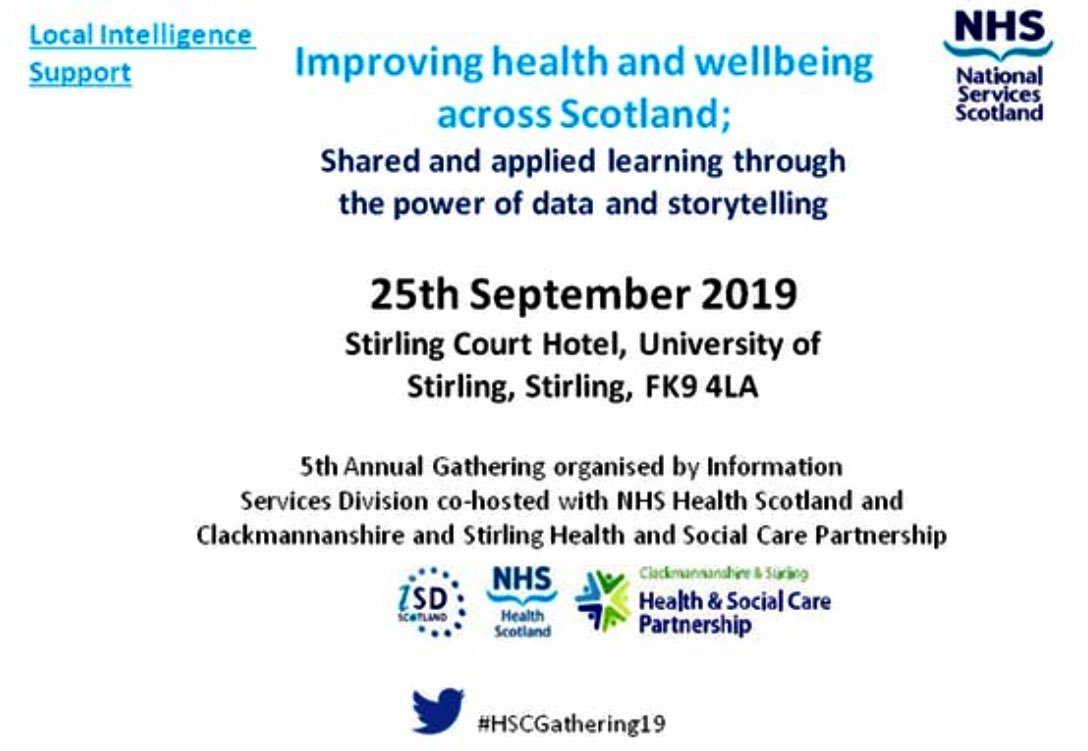 PLEASE SHARE: the registration has officially opened for #HSCGathering19 - 25th Sept at @StirCourtHotel  To book your place click here: https://www.eventbrite.co.uk/e/health-and-social-care-gathering-2019-improving-health-and-wellbeing-across-scotland-shared-and-registration-61159210846…  Look forward to seeing you there 🌈  #DataSavesLives #LIST #ISD #StoryTelling #LocalFocus #NextGeneration  @JeaneF1MSP