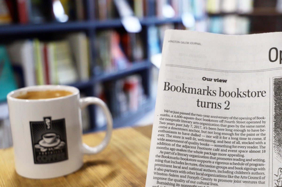 Woohoo, our bookstore is two 🎉 Thank you for the kind words, @JournalNow! #BookmarksNC #WSJournal #journalnow