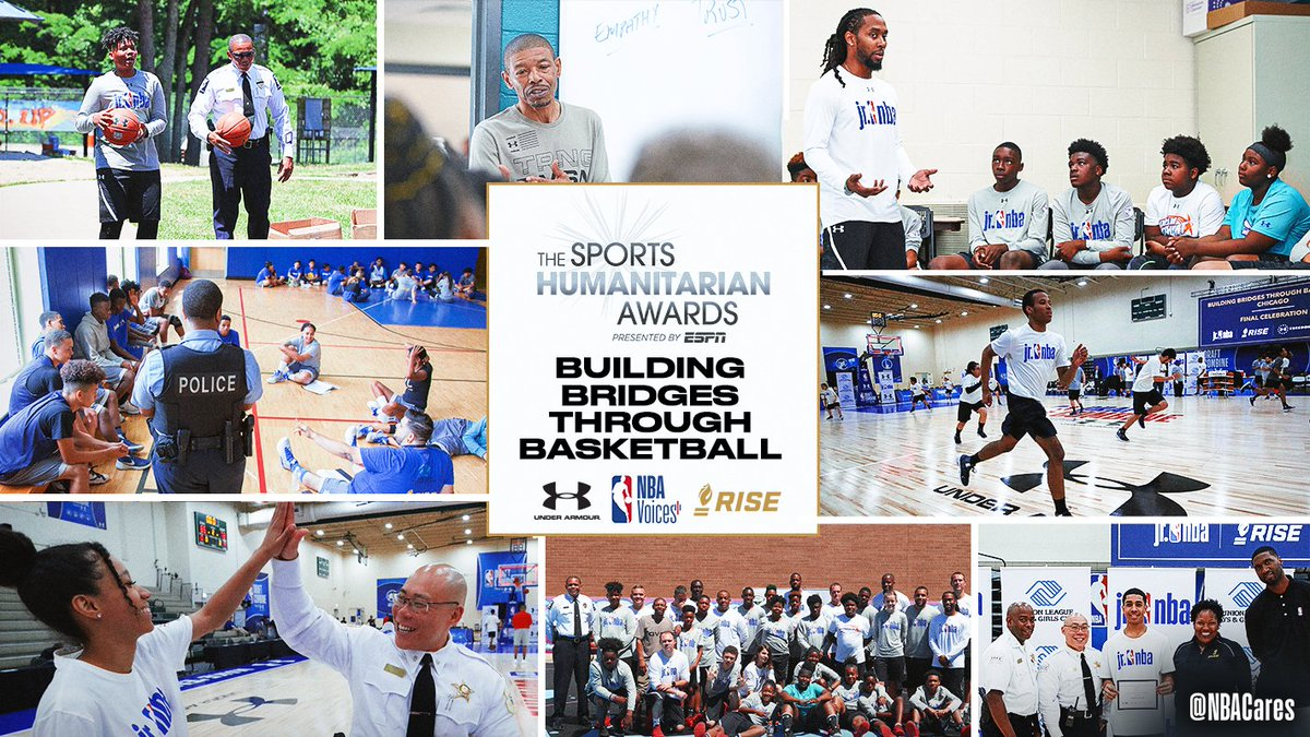 Teaming up with @UnderArmour & @RISEtoWIN makes a difference in the lives of youth and law enforcement around the country! Proud that Building Bridges Through Basketball is the 2019 recipient of the @ESPNCitizenship #SportsHumanitarian Corporate Community Impact Award! #NBAVoices