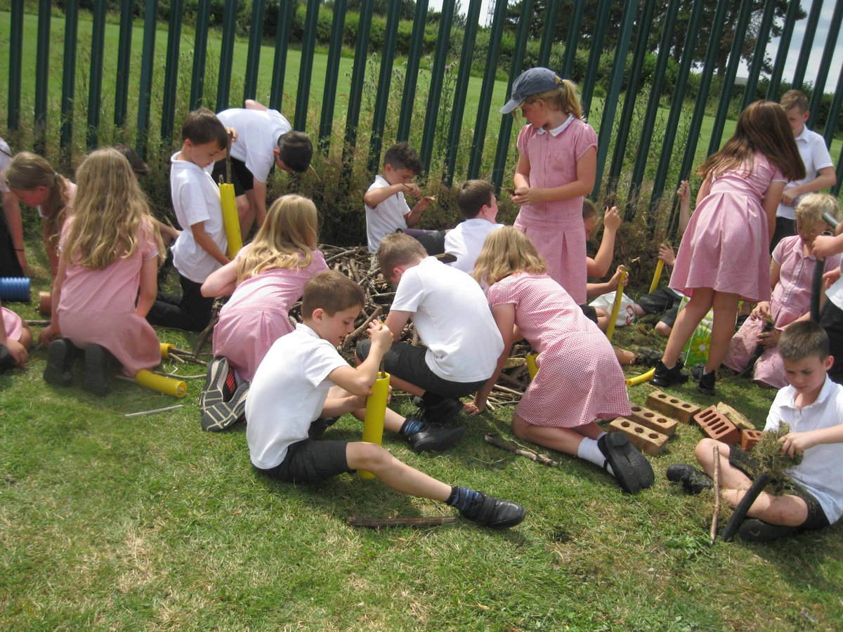 This afternoon, for the conserve part of the John Muir Award, Y5 made a beautiful bug hotel.