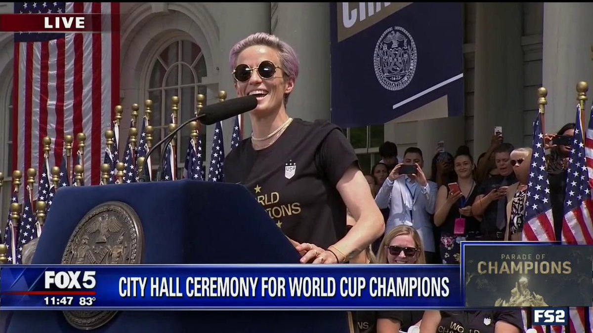 """""""This is my charge to everyone. We have to be better. We have to love more, hate less. We've got to listen more and talk less. We've got to know that this is everybody's responsibility.""""  What. A. Speech. @mPinoe 👏👏👏🇺🇸"""