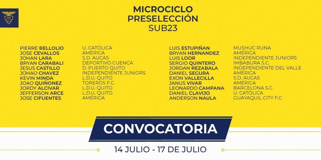 ¡Un nuevo microciclo #Sub23 se avecina! Incluirá un comprobatorio vs Club Águilas en Sto. Domingo @Lima2019Juegos #Vamospormás ⚽️🇪🇨