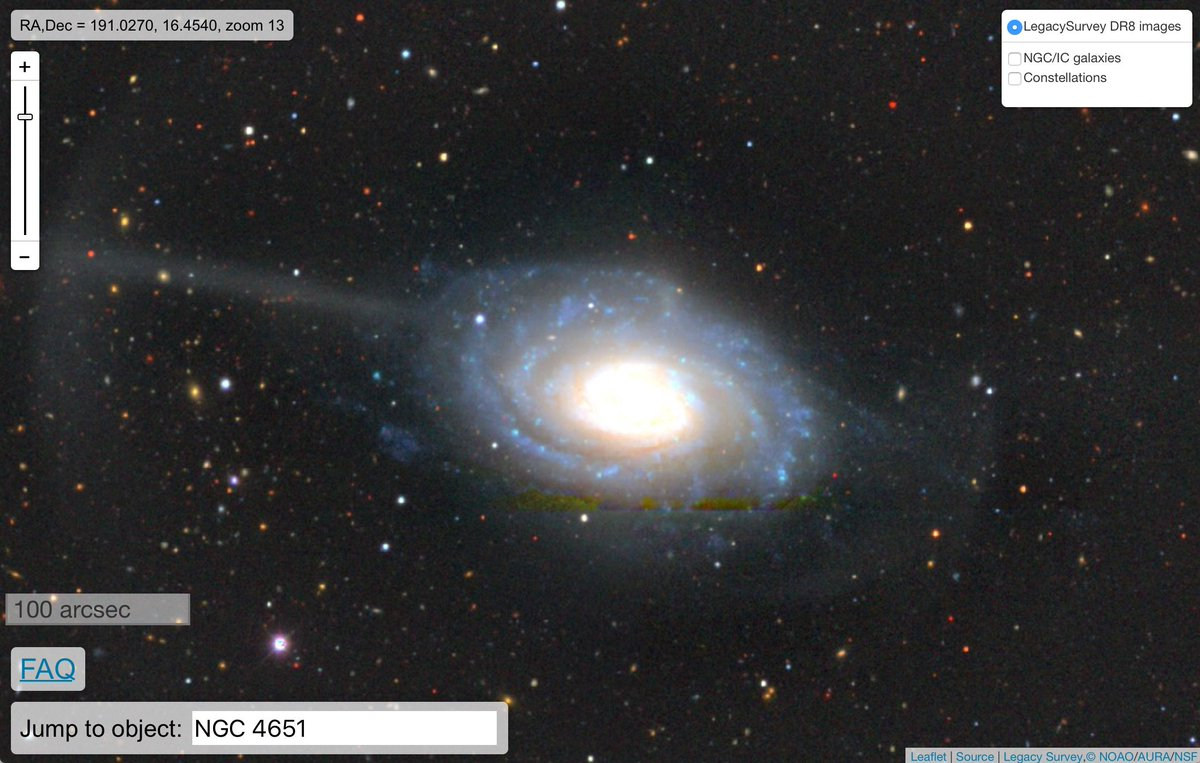 ✨New feature in the public sky viewer✨: Clicking on NGC/IC galaxies will open the @Wikipedia page if it exists for a given galaxy! See for example beautiful NGC 4651 (also known as the Umbrella Galaxy): viewer.legacysurvey.org/?ra=190.9359&d…