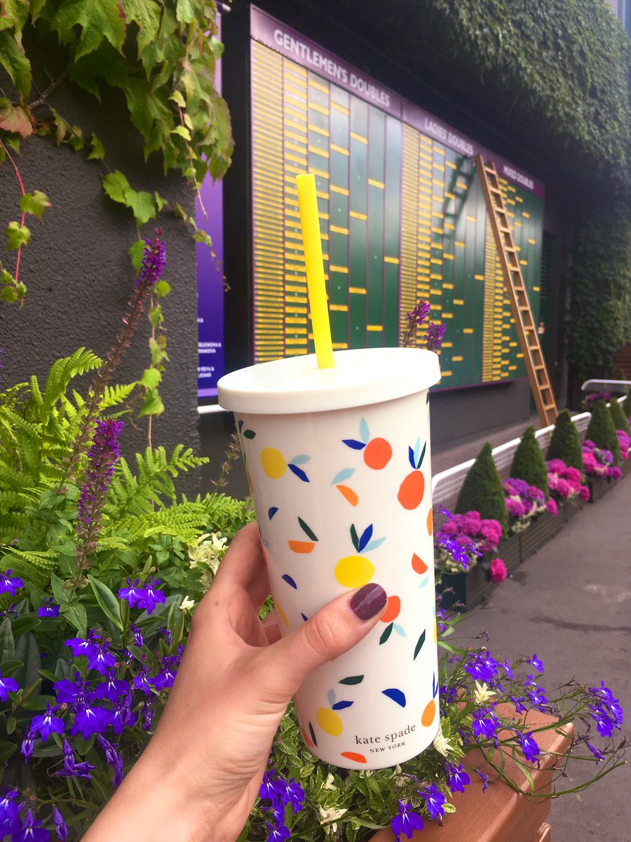 @Wimbledon, I love you, but you have more work to do on the #plasticconsumption front. Super glad to have my @katespadeny reusable flask with me to drink @PimmsGB from, but next year can you do more to encourage all visitors to bring their own cups? #plasticfreeJuly