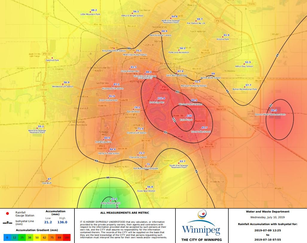 Max 80 Winnipeg >> Rob S Obs On Twitter City Of Winnipeg Rainfall Map Based