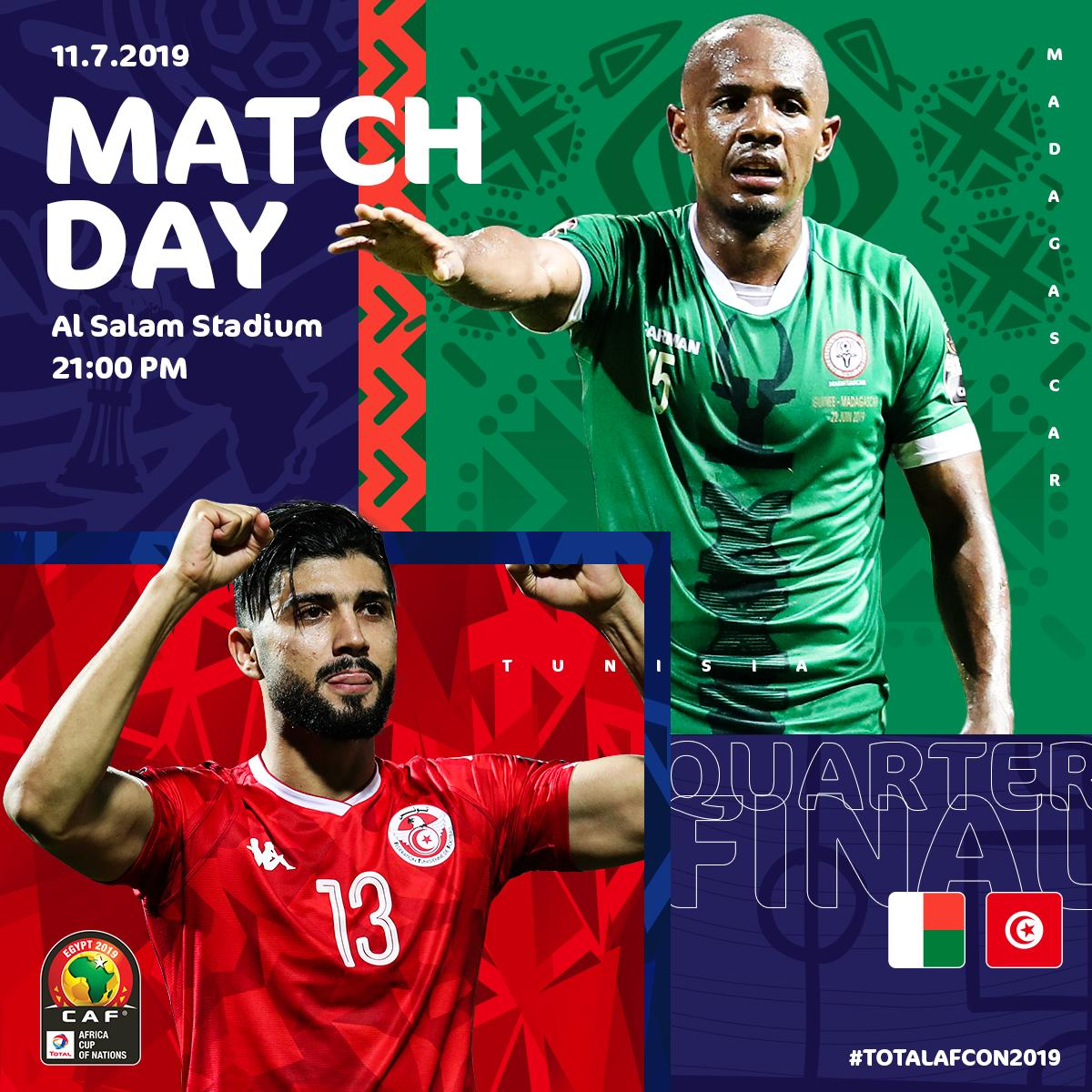 #ALEFABAREA's first ever quarter final   #CarthageEagles 10th ever, yet they've failed to qualify from it in their last  attempts   Who'll create history tonight?  #MADTUN #TotalAFCON2019<br>http://pic.twitter.com/sKZtJzB7rU