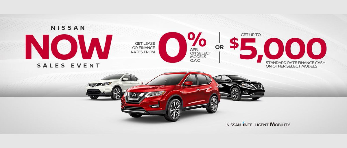 The Nissan NOW Sales Event is here! Get Lease or Finance Rates from 0% APR on select models! Shop online at Cochrane Nissan today! https://bit.ly/2CQZmRa pic.twitter.com/AjBa1GgwRW