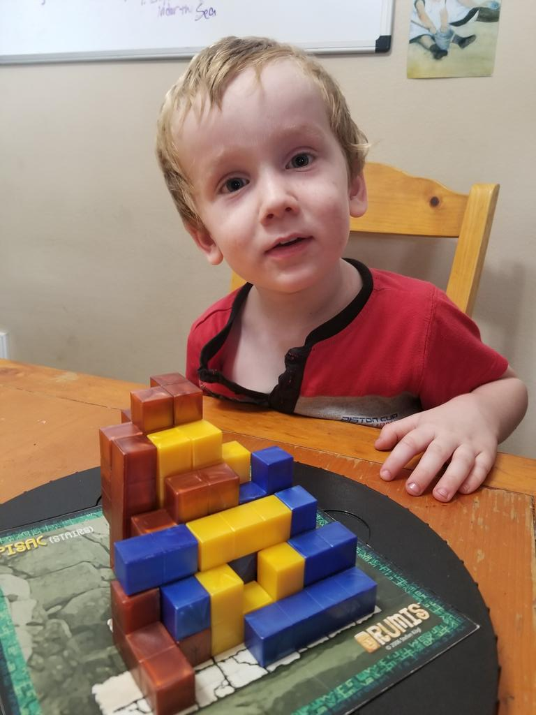 #mathgames with this kid. Impressed with his Tetris skills at fitting pieces into holes in Rumis.