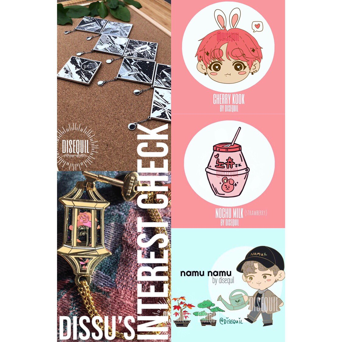 [ 🌱 RT🙏 ] Interest check form is now up! If you are interested in purchasing any of the pins below, please fill out my form as it will help me A LOT when it comes time to determine how many pre-order slots to open! forms.gle/TU6fp3AEtffnq8… #DISSUMERCH #BTSPINS