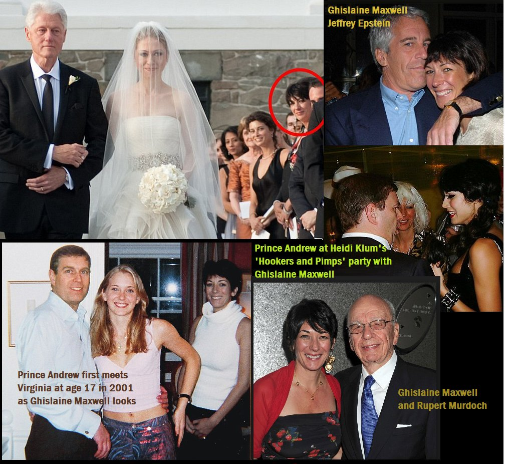"""Google  C_for_crypto on Twitter: """"Alleged madam Ghislaine Maxwell , accused of  pimping out underage girls for Jerry Epstein at Chelsea Clinton's wedding…  https://t.co/wzKhYVQA32"""""""