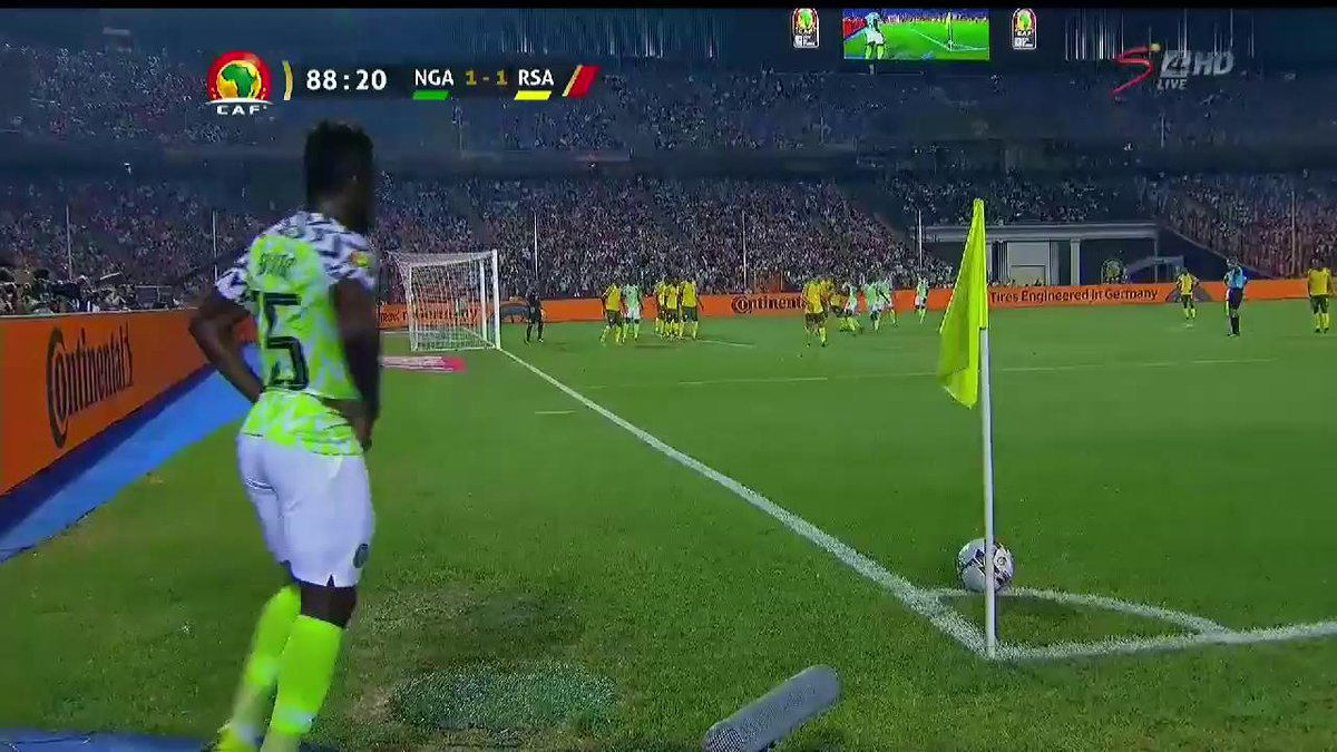 🗣️ EKONG 🇳🇬  Nigeria find the back of the net in the dying moments of the match to hand the #SuperEagles the lead against #BafanaBafana  Is this the killer blow? #TotalAFCON2019