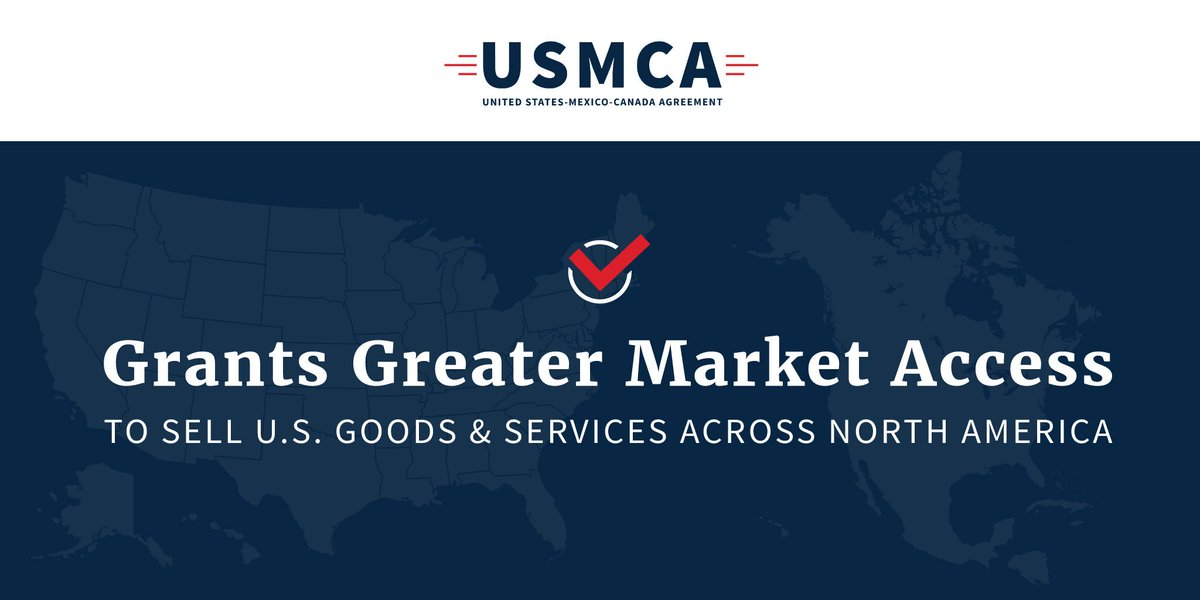 Canada and Mexico are our first and second largest exports markets for U.S. food and agricultural products. #USMCA is a great deal for all 3 countries, opening markets, reducing trade barriers, and bringing our 3 nations together to compete globally. #USMCAnow