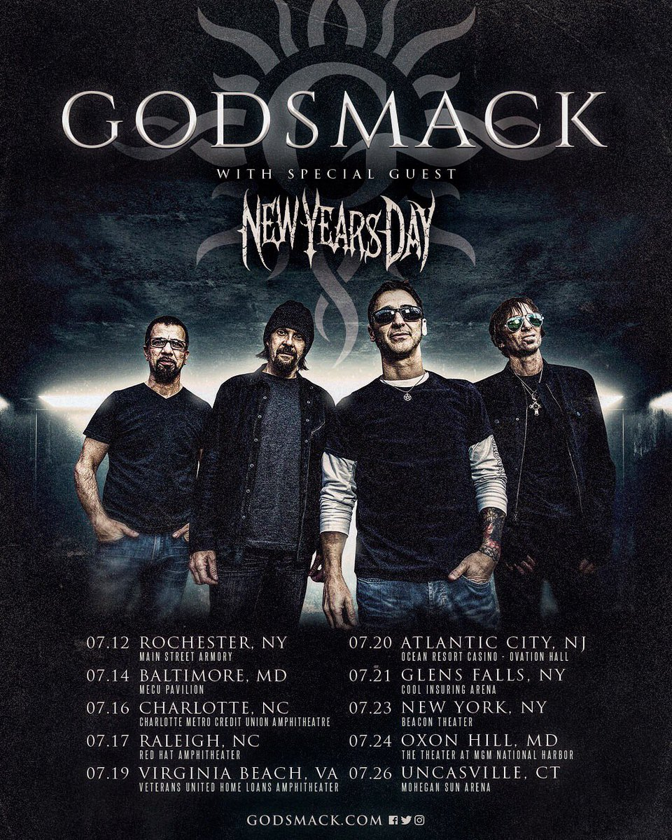 Our SUMMER US TOUR with @NYDrock starts in just 2 DAYS !!! Tickets and LIMITED VIP Upgrades* ON SALE NOW at https://t.co/Yds2lFiQzl !! * VIP Upgrades sales end 2 days before the show date at 4PM local  #godsmack #whenlegendsrise #tour #tourlife #newyearsday #gs2019 #concert https://t.co/wqX5VZTYVu