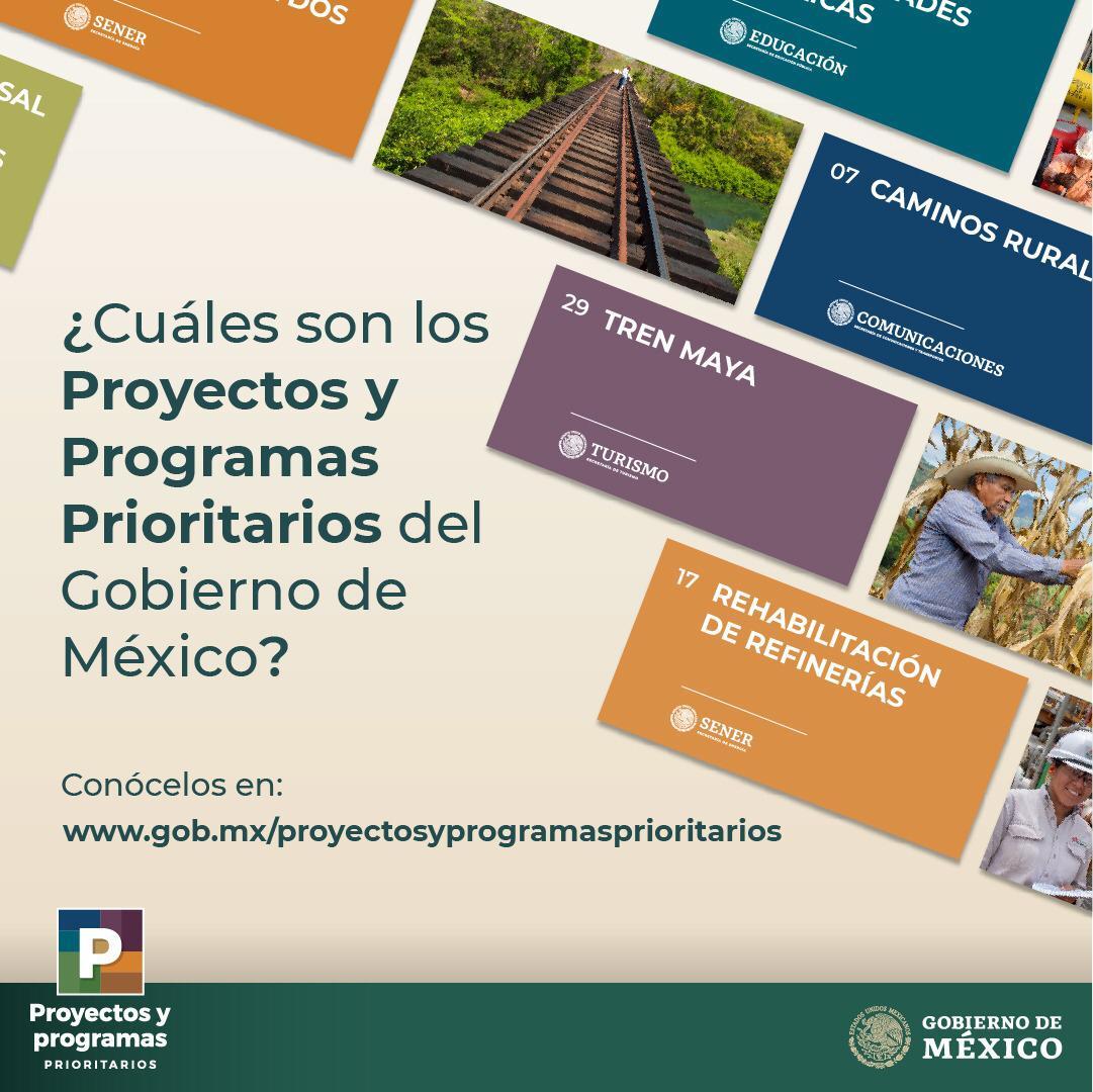 #LoMásDestacado   El #GobiernoDeMéxico ha creado 30 nuevos #ProyectosPrioritarios y #ProgramasPrioritarios para llevar el bienestar a todas las regiones del país y apoyar a los más vulnerables, y lograr una reactivación económica. 👨👩👴👵👏🇲🇽   👉http://www.gob.mx/proyectosyprogramasprioritarios…