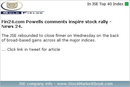 #GoldFields #GFIELDS $JSEGFI - View news article: http://dlvr.it/R8BfNC