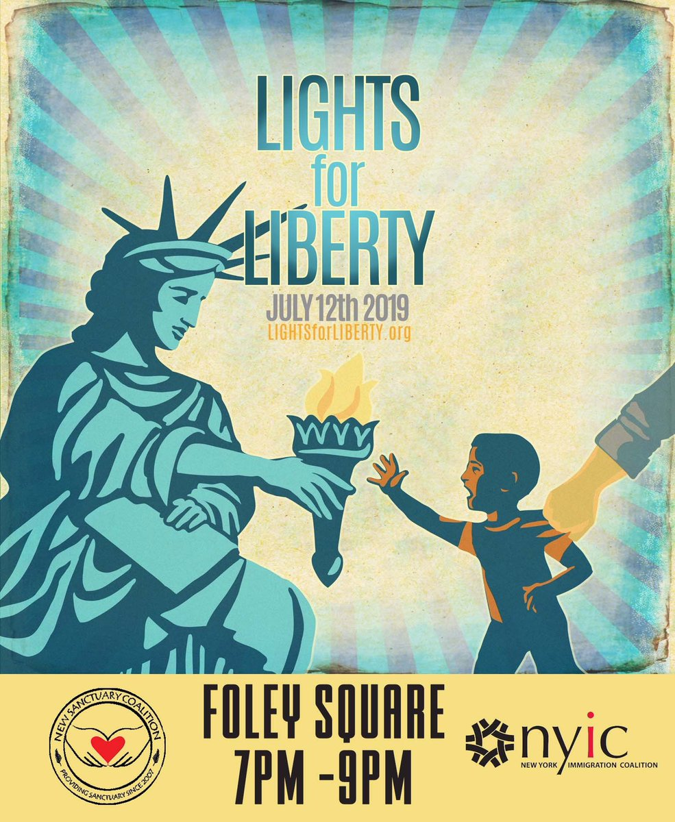 On Friday, 7/12 7:00pm local time, Lights for Liberty Vigils will take place in 700 cities around the world, on 6 continents, from Cape Town, South Africa to NYC. In New York, we will rally in Foley Square, across from the ICE NY Field Office.  #Lights4Liberty #DontLookAway