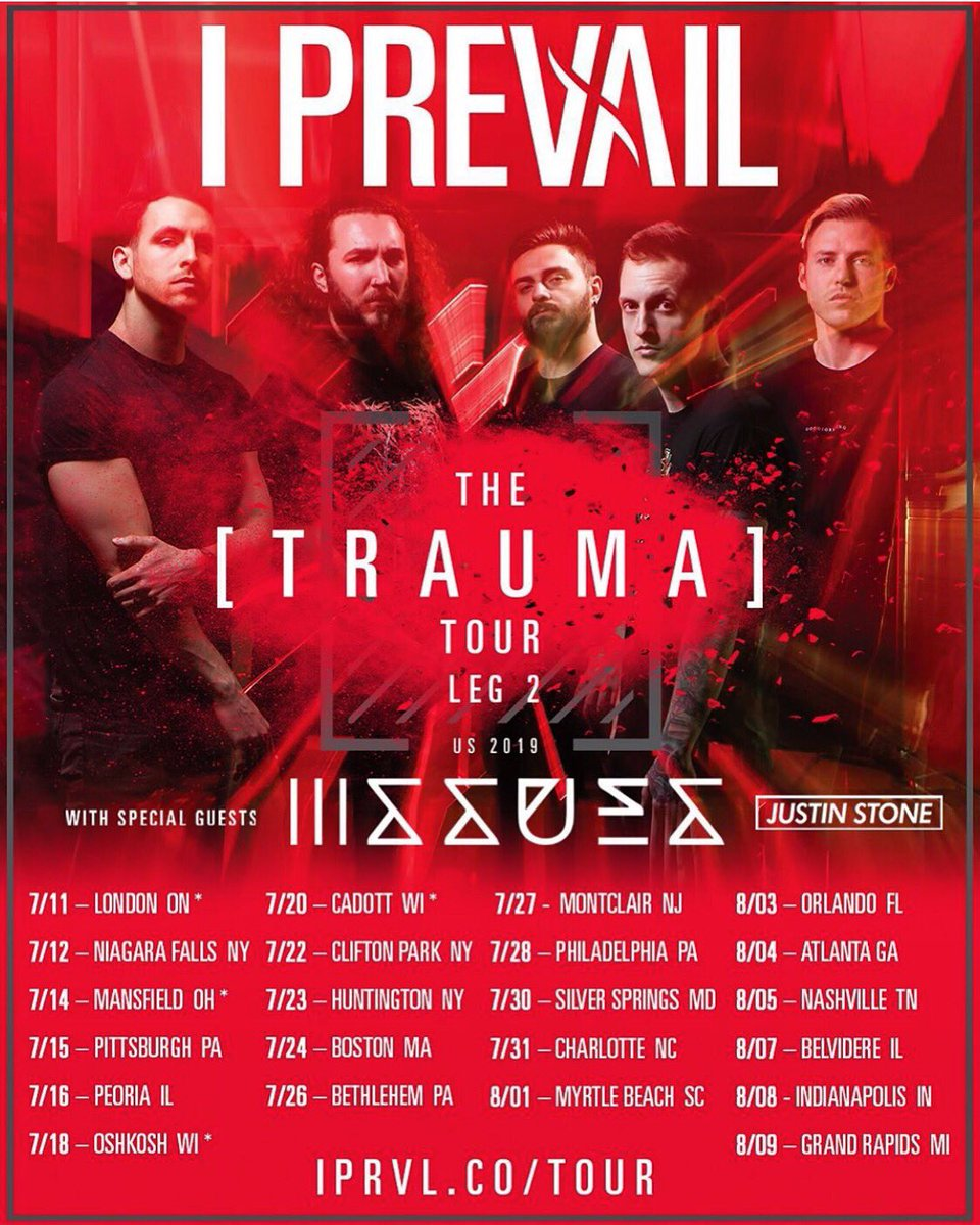 The trauma tour pt. 2 starts tomorrow!   What city you coming to?!  🎟 - http://ipvl.co/tour