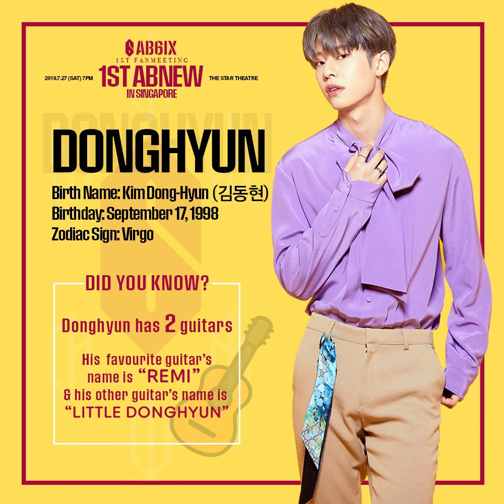 """‼️[#AB6IX TRIVIA] DID YOU KNOW: Donghyun has 2 guitars!💕 His favourite guitar's name is """"Remi"""" and his other guitar's name is """"Little Donghyun"""". How adorable of him to name his lovely guitars! 😍 D-17 to #AB6IXinSG 🎫 : apactix.com/events/detail/… 🚨 : bit.ly/AB6IXlightstick"""