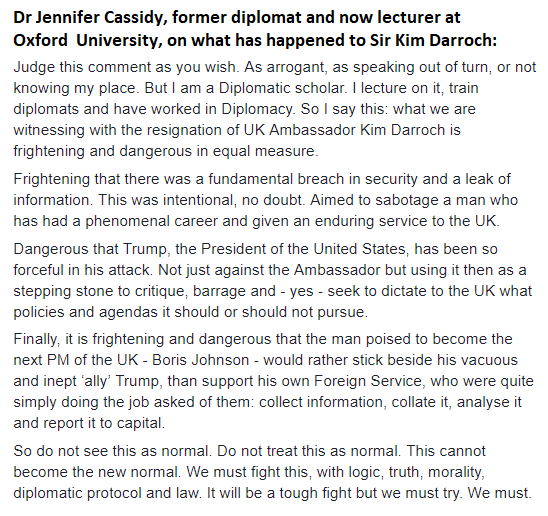 Oxford University lecturer and former diplomat @OxfordDiplomat has commented powerfully on the case of Kim Darroch. We think what she has to say should be widely shared.  #Darroch #KimDarroch #Darrochgate #BorisJohnson #Resist<br>http://pic.twitter.com/SjBoYmiCAq
