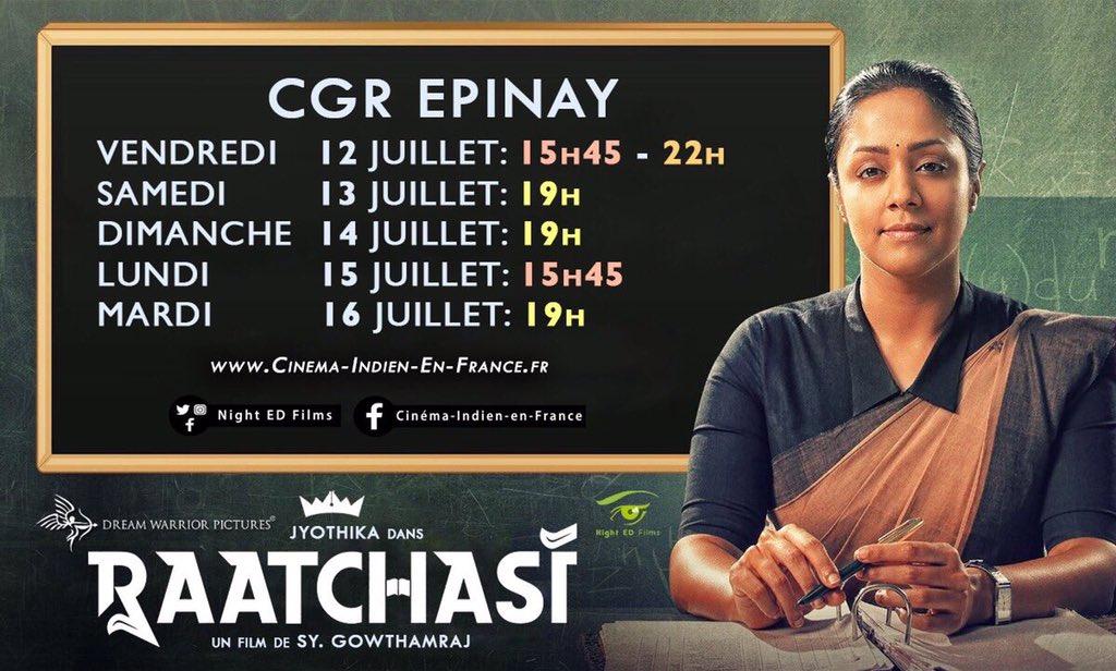 Friends in #France 🇫🇷 can watch #Raatchasi now at big screens.   #Jyotika @sy_gowthamraj @RSeanRoldan @gokulbenoy @philoedit