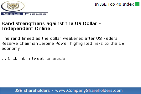 #GoldFields #GFIELDS $JSEGFI - View news article: http://dlvr.it/R8BmlV