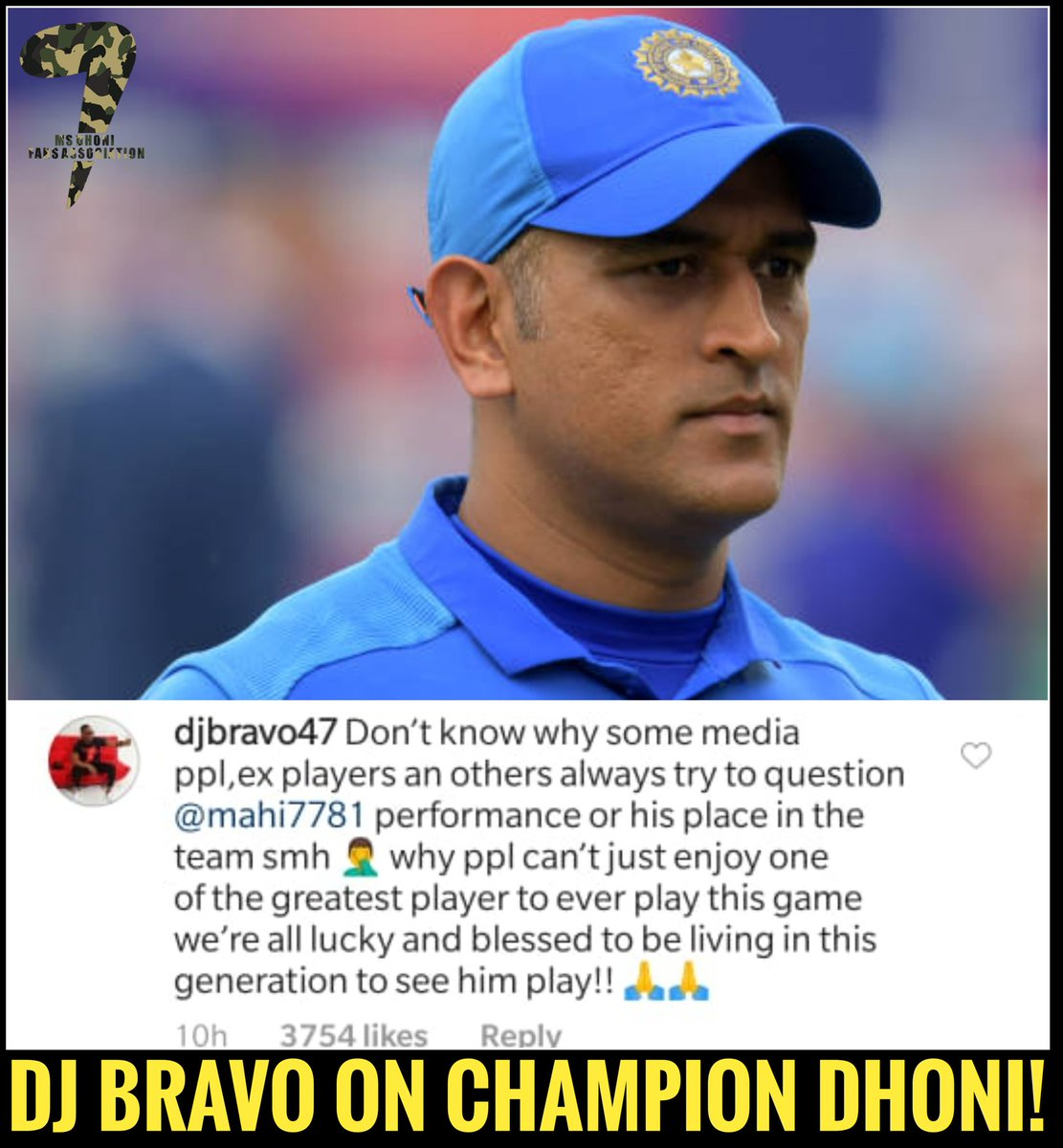 "We're all lucky & blessed to be living in this generation to see him play.""  - DJ Bravo  #DhoniAtCWC19  #Dhoni<br>http://pic.twitter.com/w4Rt6PDTxR"