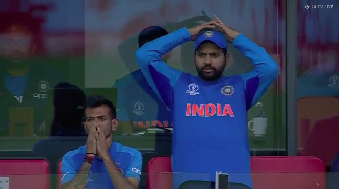 The emotions of Rohit in the dressing room when Indian batsman was going back after playing poor shots or when Jadeja and Dhoni was scoring runs, these were just unforgettable moments. <br>http://pic.twitter.com/hk2fw0qxWO