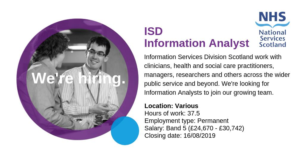 We have several vacancies for Information Analysts to join our growing team at #ISD  Apply now: https://apply.jobs.scot.nhs.uk/internal/displayjob.aspx?jobid=2090…