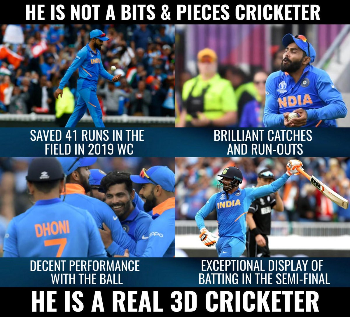 .@imjadeja - a real 3D cricketer. #CWC19 <br>http://pic.twitter.com/f2TJyRyxJT