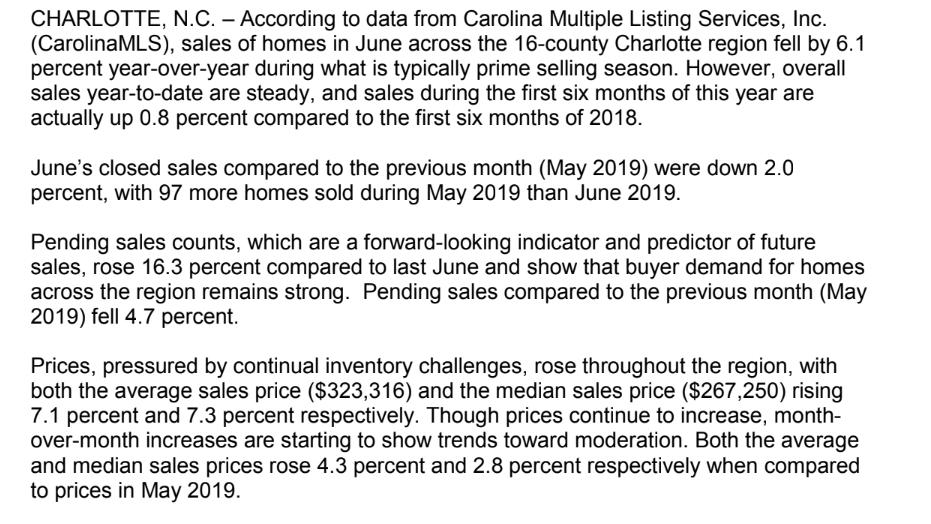 0c3680a9856e Home sales in the Charlotte region plunged 6.1 percent year-over-year in  June, but average prices still shot up more than 7 percent.