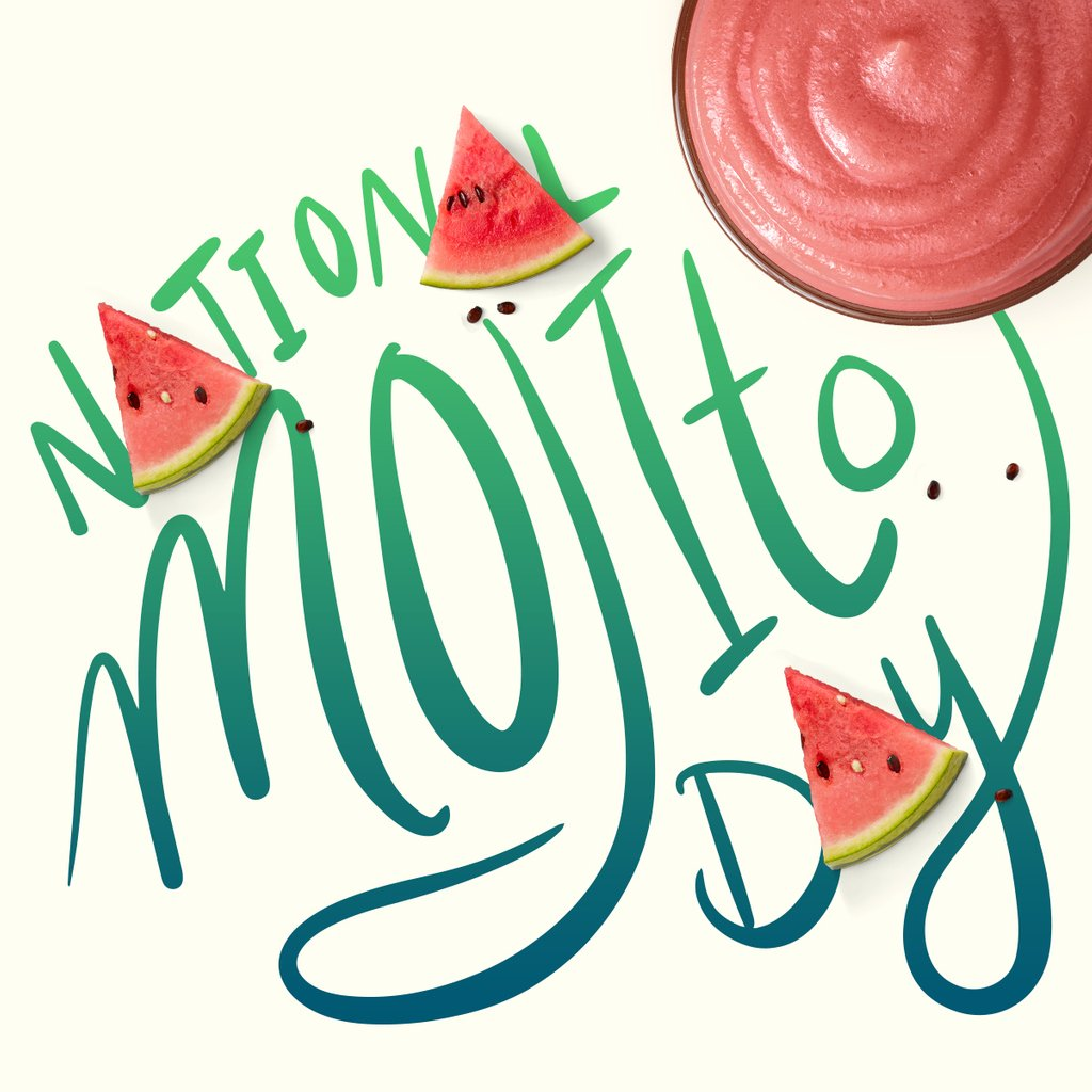 Not that you need a reason to drink a Watermelon Mojito Smoothie, but it's #NationalMojitoDay.