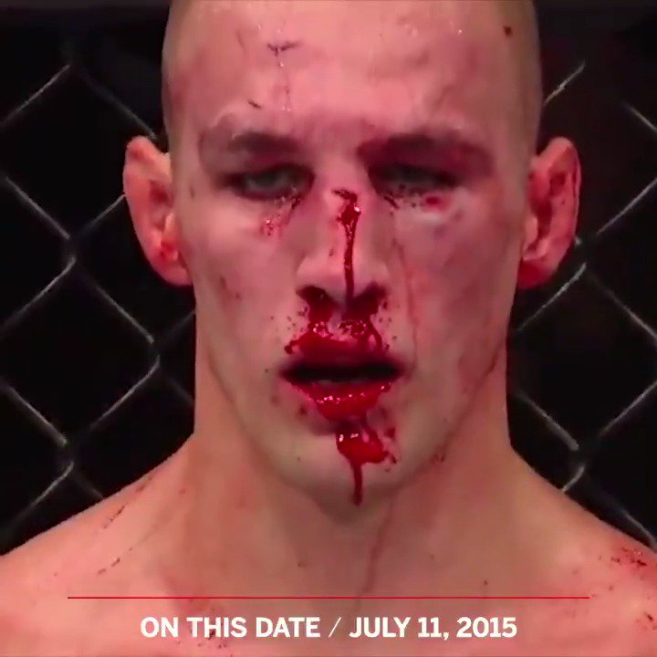 Lawler. MacDonald. The bell rings to end Round 4...  Four years ago today, @Ruthless_RL and @rory_macdonald had THE staredown at UFC 189