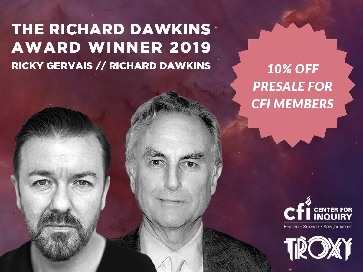 The 2019 @RichardDawkins Award for Raising Consciousness of Atheism and Secular Values goes to @rickygervais! See them in conversation in London on Sept 3 - 10% discount for CFI and @rdfrs members! #DawkinsAward2019 https://troxy.co.uk/event/richard-dawkins-and-ricky-gervais-in-conversation/ … https://centerforinquiry.org/press_releases/ricky-gervais-to-win-the-2019-richard-dawkins-award-in-london/ …