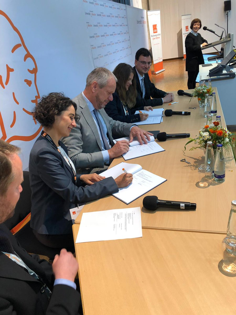 """E. Dudok, Airbus signed a cooperation for joint research projects at #CODEJT2019. """"Today's signature will enable research on anticipating challenges for Military Aircraft in next years, and help to develop cyber resilient security-critical applications."""" #Defence #CyberSecurity"""