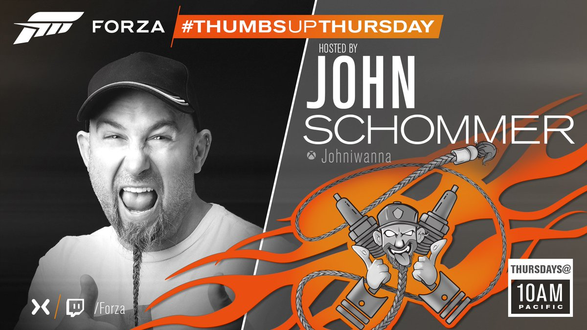 Hey there Forza fans, whos up for another great stream later today? If youve answered yes to that question then youll be pleased to know that coming up we have another episode of #ThumbsUpThursday with Johniwanna heading your way at 10am Pacific/6pm UK! mixer.com/forza