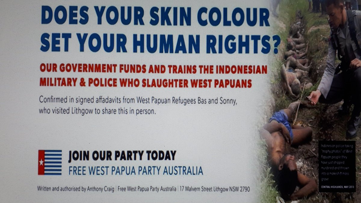 SHE SHOULD ASK WHY AUSTRALIA COVERS UP WAR CRIMES WITH INDONESIA IN WEST PAPUA ILLEGAL UNDER AUSTRALIAN INTERNATIONAL HUMANITARIAN LAW https://twitter.com/7NewsAustralia/status/1149263328390160386…