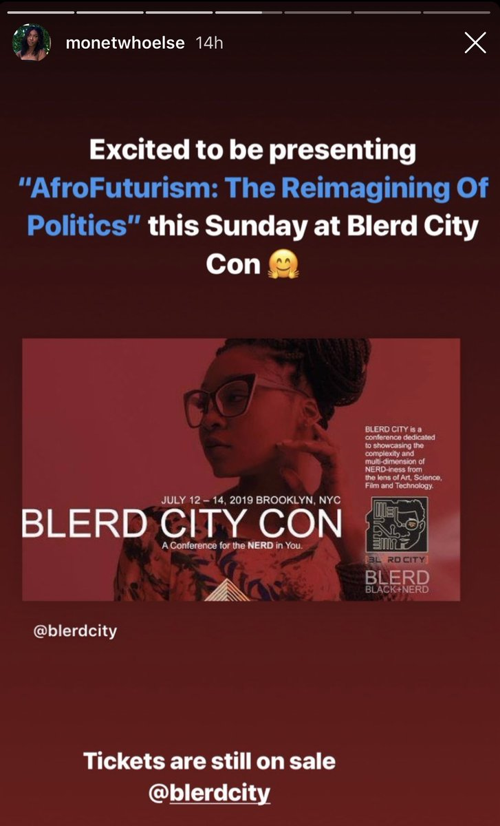 """Join us Blerds! @monetwhoelse will be presenting """"Afrofuturism: The Reimagining Of Politics"""" this Sunday.  TICKETS ARE ON SALE!  http:// blerdcitycon.com      #blerdcitycon2019 #blerds #afrofuturism #afrofuturist #politics #political #panel #workshop #presentation #thingstodoinnyc #BK<br>http://pic.twitter.com/xL6fLYqcK4"""