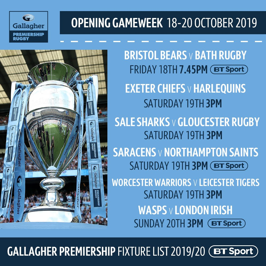 test Twitter Media - The opening fixtures of the @premrugby 2019/20 season 🙌⬇ https://t.co/Weu28GwKo8