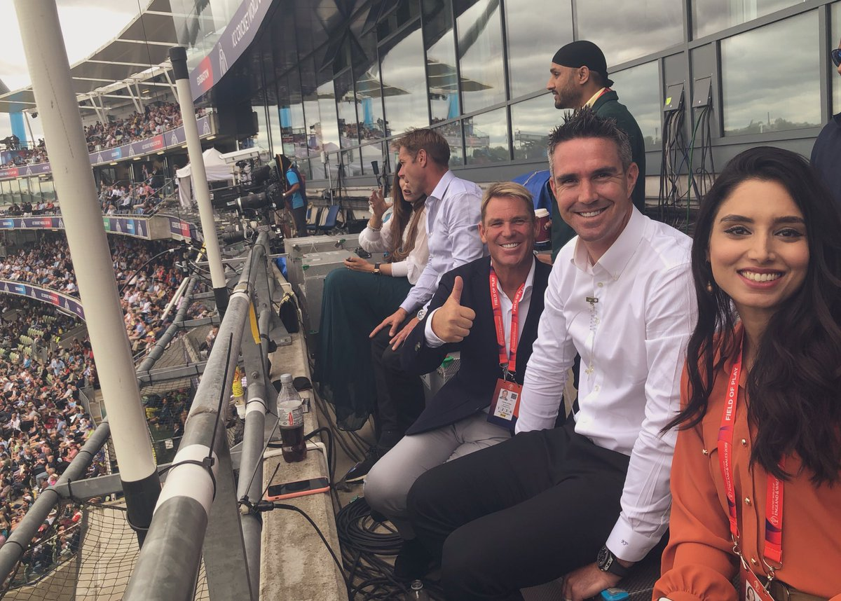 This is where the cool kids hang out... @WardyShorts @ShaneWarne @KP24 @ZAbbasOfficial @harbhajan_singh #ENGvAUS #CWC19
