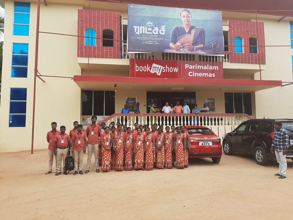 We decided to show this #Raatchasi movie mainly for teacher training students. Gave discounted tickets and free popcorn to shri surya college of education students and they completely enjoyed it. Many #Raatchasi in making 😊👍🏼 #Jyothika @prabhu_sr @DreamWarriorpic @Suriya_offl