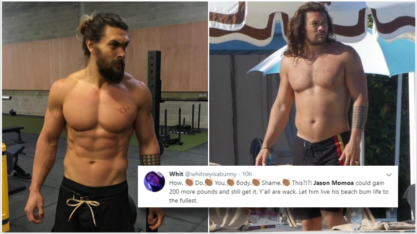 #JasonMomoa gets body shamed for 'dad bod' but fans are having none of it: 'Go home internet, you are drunk'https://bit.ly/2XCPmGg