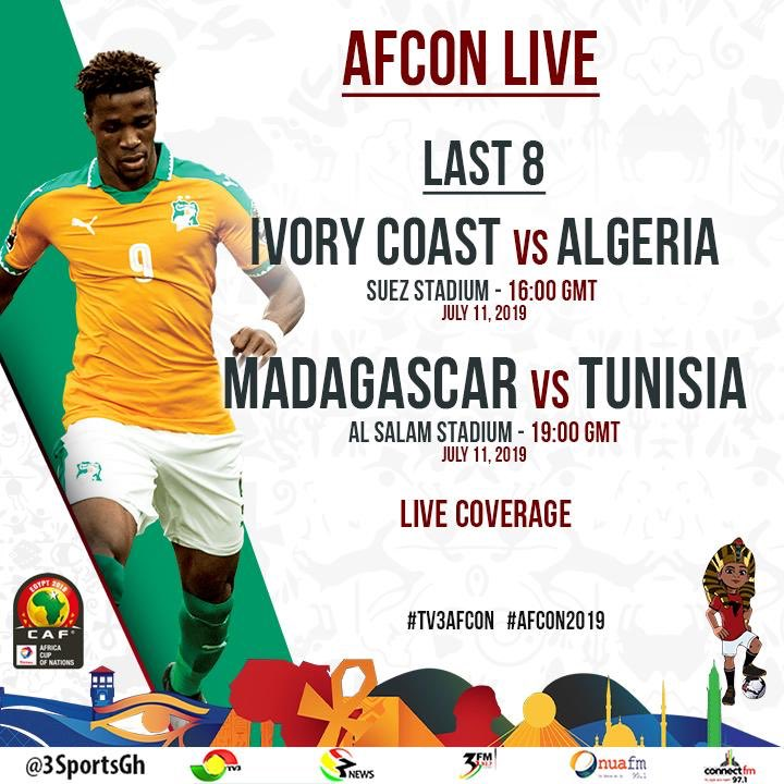 At 3pm, I'll bring you the last batch of quarter finals of the #AFCON2019. Tune in to @tv3ghana for #TV3AFCON. #CIVALG #MADTUN <br>http://pic.twitter.com/lgYwxuguMO