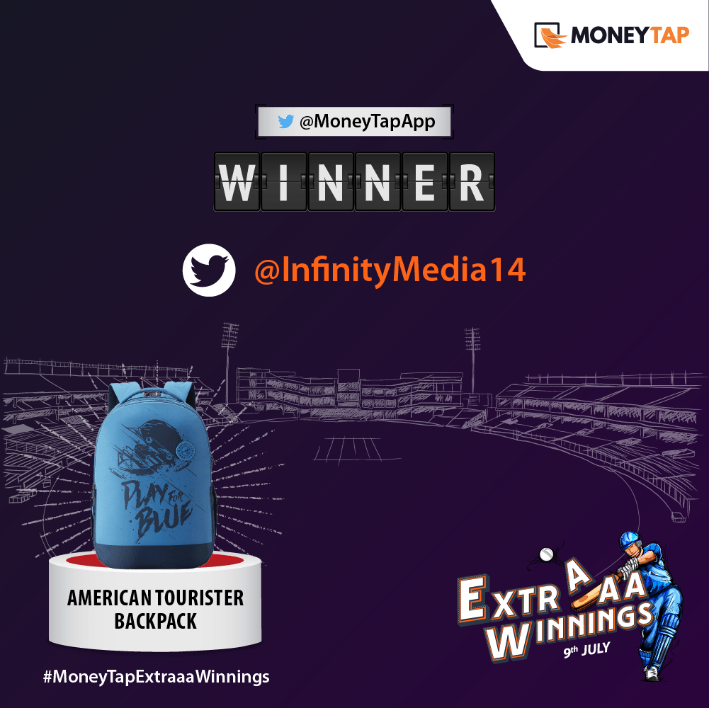 Congratulations, @InfinityMedia14! Your prediction was not only correct but also the fastest. Please DM us your details so that we can send you your gift.   #MoneyTap #ContestAlert #MoneyTapExtraaaWinnings #CWC2019 #NZvIND #IndiaVsNewZealand #INDvNZ #SemiFinal1<br>http://pic.twitter.com/gz2nLugGHj