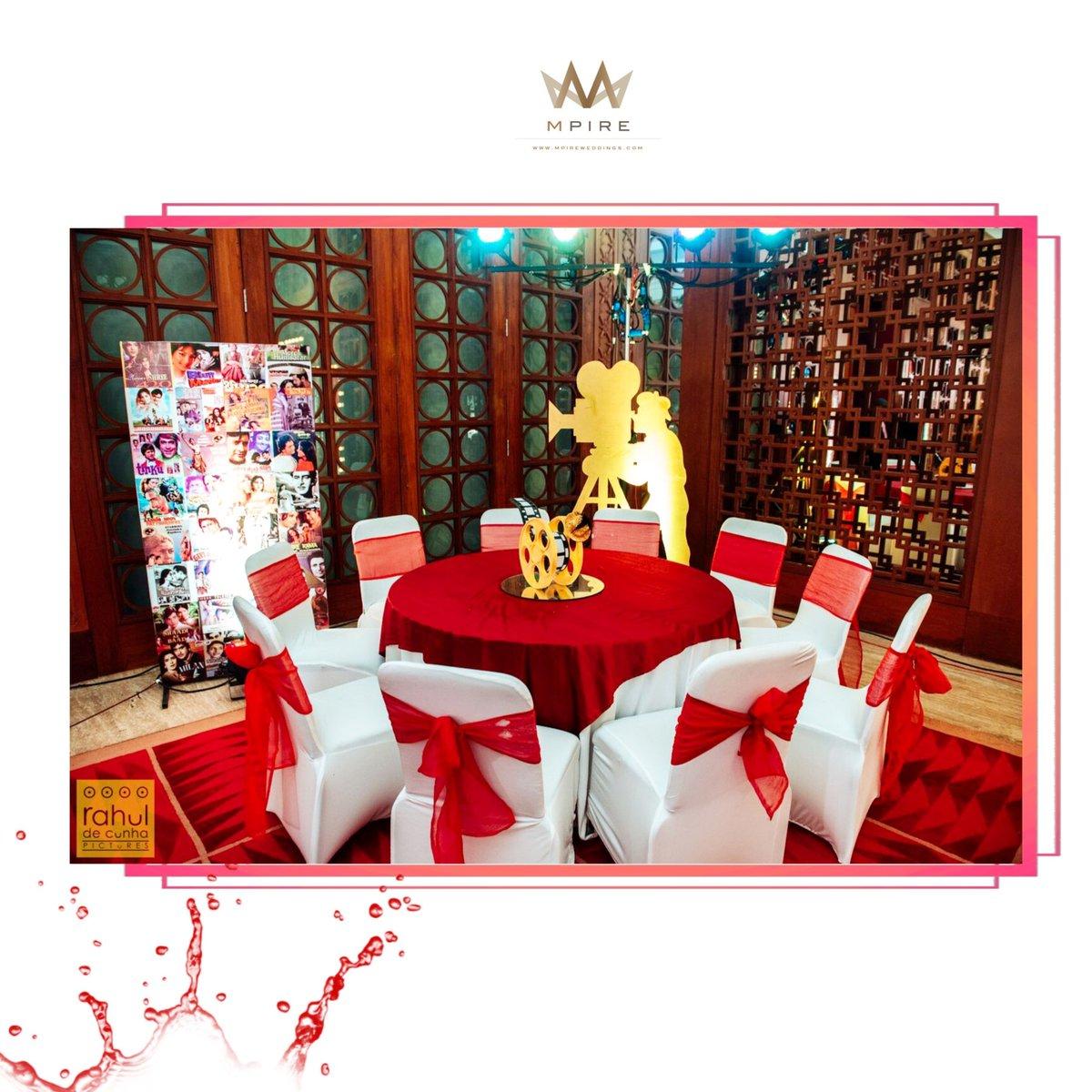 The perfect decor for such a filmy couple #SangeetGoals! #WeddingSaga   #Mpire #MpireWeddings #WeddingPlanners #Sangeet #Bollywood #Theme #SangeetNight #Decor #Bride #Groom #Drama #IndianWedding #DestinationWedding #AlilaDiwa #Goapic.twitter.com/m1Nb19KCD2