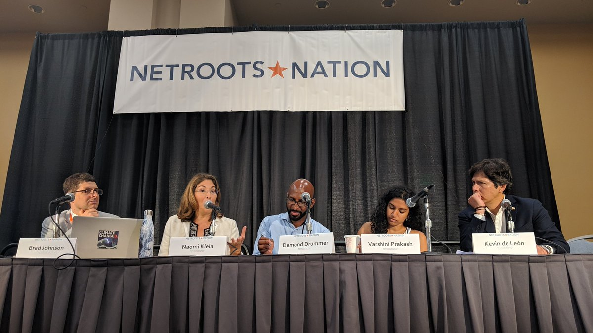 """""""The climate crisis is a huge threat to centrism."""" @NaomiAKlein #NN19"""