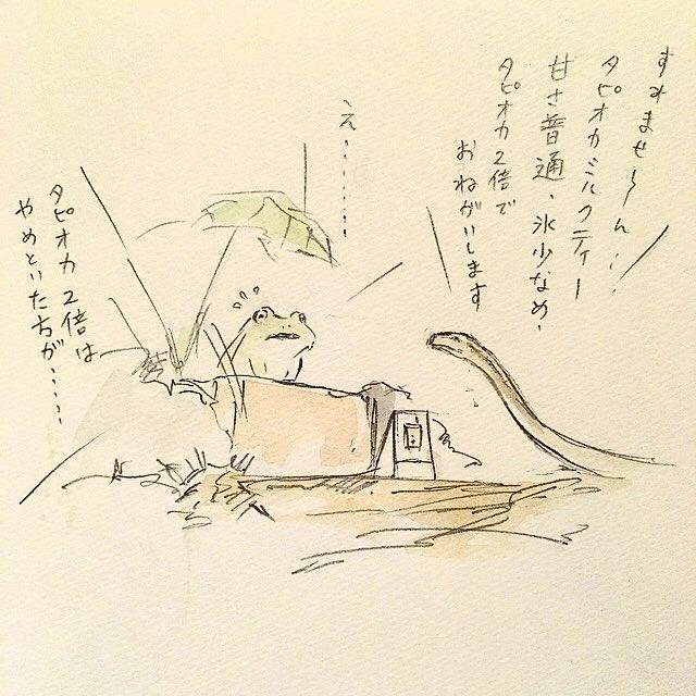 タピオカガエルと常連のヘビ。