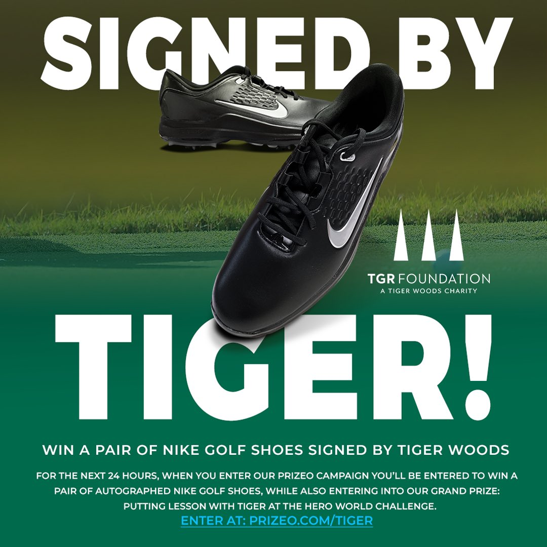 Want a chance to win a pair of my signed golf shoes? For the next 24 hours when making a donation benefiting the @TGRFound for a chance to win a putting lesson with me at the Hero World Challenge, you will also be entered to win these kicks. Enter at prizeo.com/tiger