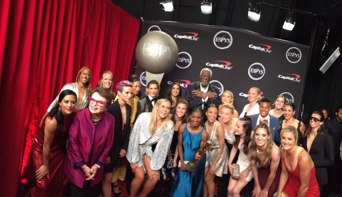 What a Great honor to be the thorn amid all the roses! All jokes aside Congratulations to the @USWNT America is very proud of your accomplishments & strides to make equality a reality.  I kept my hands high #ESPYS & I could not forget @BillieJeanKing @mPinoe @alexmorgan13 @espn
