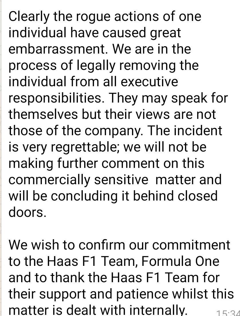 Rich Energy seguirá siendo patrocinador de Haas tras el lamentable tuit de ayer. No son nada serios. En fin, espero que Haas  no tengan problemas con esa gentuza #F1 #HaasEspF1Team #NoticiasEspF1Team